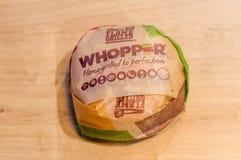 在纸的弥天大谎三明治从汉堡王 图库摄影