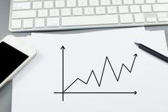 在纸的成长曲线图与铅笔和巧妙的电话 库存照片
