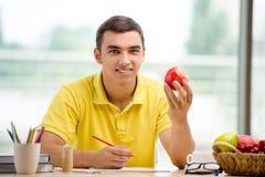 在纸的年轻艺术家图画苹果 免版税库存照片