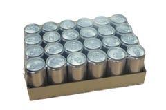 在纸盒箱子的罐装生产 免版税库存图片