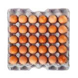 在纸盒配件箱的鸡蛋 免版税库存照片