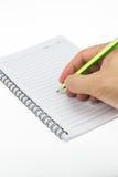 在纸笔记本的把柄铅笔 免版税库存图片