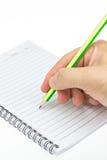 在纸笔记本的把柄铅笔 库存照片