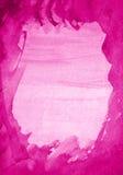 在纸纹理的抽象桃红色水彩作为背景 库存照片