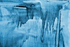 在纸纹理的抽象蓝色水彩作为背景 Christm 库存照片