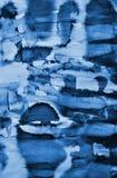 在纸纹理的抽象蓝色水彩作为背景 Christm 免版税库存照片