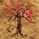 在纸纹理的神秘的树与标志 免版税图库摄影