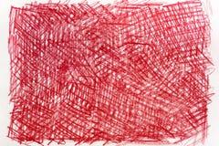 在纸背景纹理的红色蜡笔画 库存照片