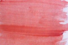 在纸背景纹理的红色水彩蜡笔 免版税库存照片