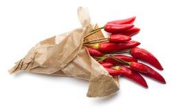 在纸袋的辣椒 免版税库存图片