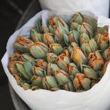 在纸袋的Unblown郁金香在铝桶的待售在花店旁边 图库摄影