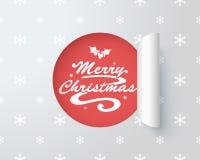 在纸被删去的标签2的圣诞快乐商标 免版税库存照片