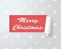 在纸被删去的标签1的圣诞快乐商标 库存图片