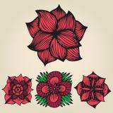 在纹身花刺样式设置的花卉乱画的花 免版税库存图片