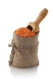 在纺织品大袋的扁豆 免版税库存照片