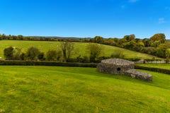 在纽格莱奇墓,爱尔兰附近的农村风景 库存图片