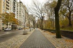 在纽约旁边中央公园的路  免版税库存照片