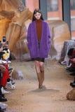 在纽约时尚星期期间,模型走跑道在拉科斯特展示 库存图片