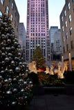 在纽约-洛克菲勒中心圣诞树的圣诞节 免版税库存图片
