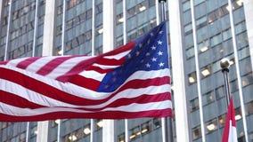 在纽约NYC的美国国旗 股票录像