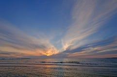 在纽芬兰海岸的日落 库存照片