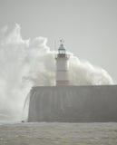 在纽黑文港口的灯塔 免版税图库摄影