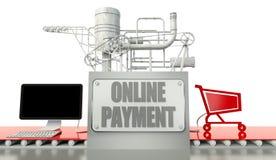 在线付款概念、计算机和购物车 免版税库存图片