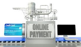 在线付款概念,计算机和信用卡 免版税库存照片