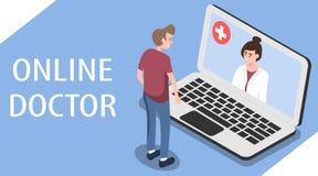 在线医生 网上医学的概念 人的图象isometry的 库存例证