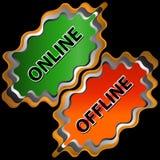 在线和脱机图标 免版税库存照片