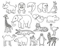 在线型的野生动物黑白图表 图库摄影