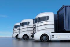在线安排的白色容器卡车 向量例证