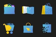 在线市场图标,数字式存储符号 免版税库存图片