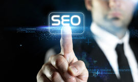 在线市场营销, SEO概念的技术 免版税库存照片