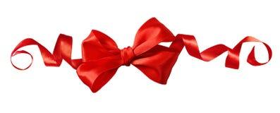 在线欢乐安排的红色缎丝带弓 图库摄影