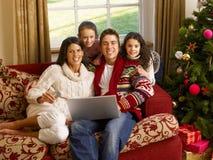 在线西班牙系列圣诞节购物 免版税库存图片