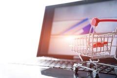 在线购物概念 在膝上型计算机的购物车台车有在拉链袋子的一张信用卡的 免版税库存照片