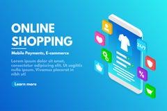 在线购物概念 有用户界面的等量智能手机 电子商务和网上商店概念 向量例证