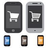 在线购物的例证使用移动电话或移动电话的 库存照片