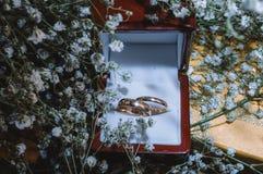 在细节射击的结婚戒指 库存图片