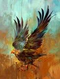 在织地不很细背景的美术的明亮的风格化老鹰 向量例证