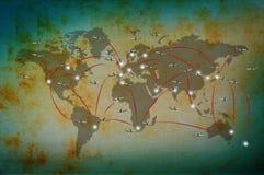 在经典世界地图的空中飞机飞行 免版税图库摄影