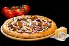 在经典开胃意大利乳酪薄饼的选择聚焦与 免版税库存图片