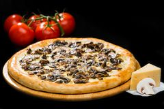 在经典开胃意大利新鲜的干酪薄饼的选择聚焦 免版税库存照片