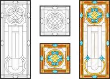 在经典样式的五颜六色的污迹玻璃窗天花板或门盘区的,蒂凡尼技术 库存例证