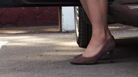 在绒面革典雅的鞋子的女性脚从汽车出来 股票录像