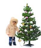 在结构树的圣诞节女孩 库存图片
