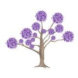 在结构树的抽象紫色花 免版税库存图片