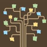 在结构树的纸附注针 库存图片