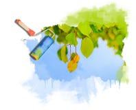 在结构树的绿色叶子 免版税图库摄影